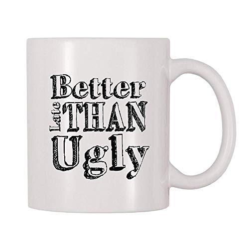 Mejor tarde que la taza de maquillaje de la taza fea con...