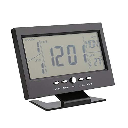 ukYukiko - Reloj despertador LCD con control de voz, color blanco y negro, con termómetro, 147 x 56 x 115 mm (largo x ancho x alto).