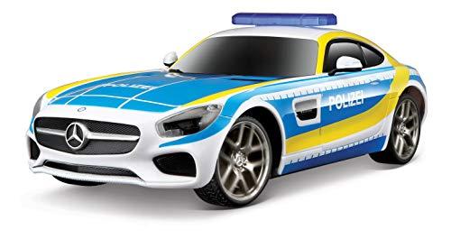 Maisto Tech R/C Mercedes AMG GT Polizei: Ferngesteuerter Rennwagen, Licht- & Soundfunktion, Heckantrieb, Pistolenfernbedienung, 20 cm, blau (582096P)