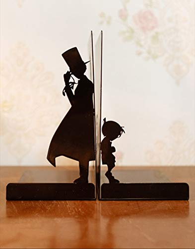 Heavy-Duty Metal Bookends Anime Conan Bookends Creative Decorative Black Metal Book Ends for Home School Office (Style 2)