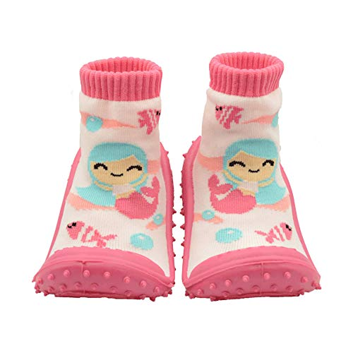 SKIDDERS Baby Toddler Girls Grip with Rubber Soles Non-Slip Flexible Shoes Mermaid (3) Pink/Multi-Color