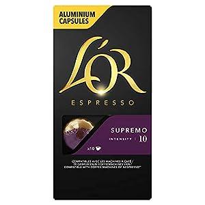 Café en capsule aluminium Intensité 10 Expresso épicé avec des notes complexes de chocolat noir, de chêne et de noix Café cultivé par des producteurs certifiés Utz qui mettent en oeuvre de meilleures pratiques agricoles dans le respect des personnes ...