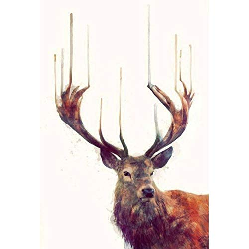 DIY 5D Diamond Painting by Number Kit, Full Round Drill Embroidery Cross Stitch Pictures Arts Craft Home Wall Decor Elk Longhorn 11.8x15.7 in by Megei
