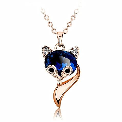 Lindo zorro cristal azul circón diamantes piedras preciosas collares pendientes para mujeres oro rosa blanco plata color gargantilla joyería