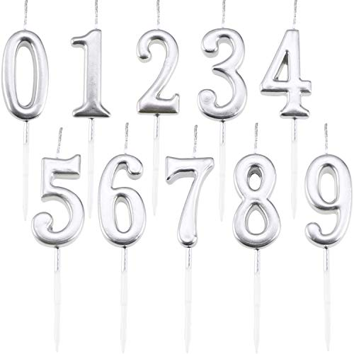 Maitys 10 Pieces Birthday Numeral Candles Glitter Cake Numeral Candles Number 0-9 Cake Topper Decoration for Birthday Party Supplies (Silver)