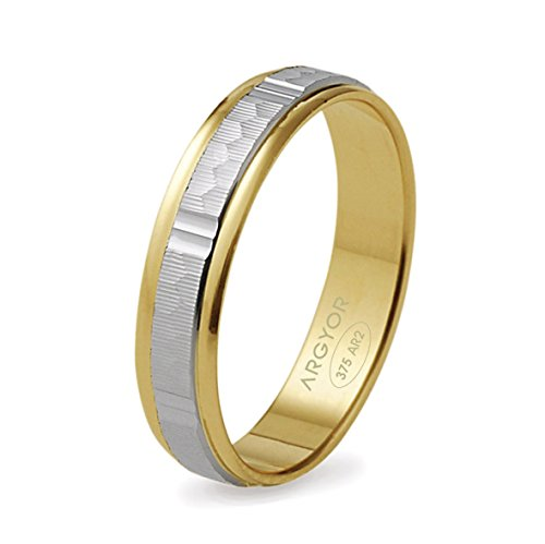DILAN-www.diamants-perles.com-Alliance, matrimonio, oro 2 colori, 375/1000-9 carati, larghezza: 4 mm