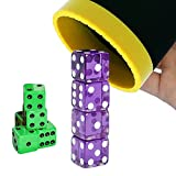 Dice Stacking Cup Set with 4 Pcs 19mm Purple and 5 Pcs 18mm Green Standard 6 Sided Dices Straight Dice Cup with Storage Bag Dice Cup Shaker with Magic Tricks Instruction Black