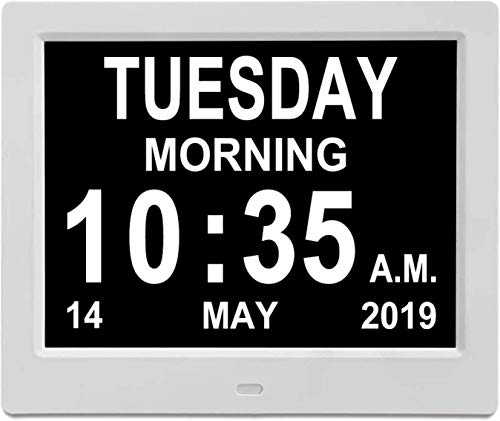 "JAOK [Newest Digital Calendar Day Clock,12 Options Alarm Clock - Memory Loss Day Clock - with Large Clear Digits Display, Alarm Clock with HD Digital Photo Frame (7"" White)"