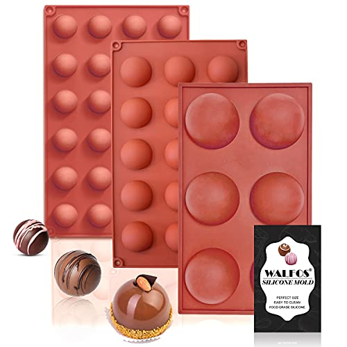 Semi Sphere Silicone Mold, Silicone Chocolate Molds,3 Packs Baking Molds for Making Chocolate, Cake, Jelly, Dome Mousse (6 Cups, 15 Cups and 24 Cups)