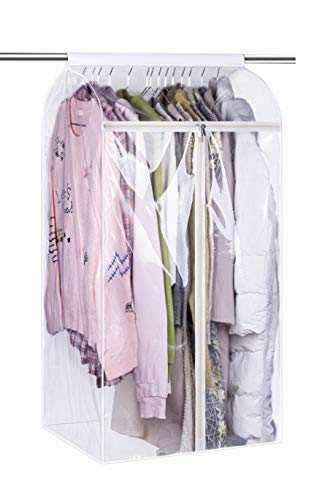 KEETDY 43' Hanging Garment Bags for Closet Storage Large Clear Window Hanging Clothes Storage Garment Rack Cover Coat Protector for Suit, Wardrobe, Bottom Enclosed