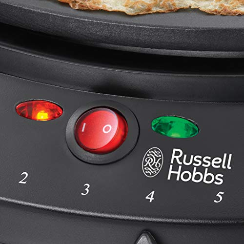 Russell Hobbs 20920 Fiesta Crepe and Pancake Maker - Electric Non Stick Hot Plate with Variable Temperatures and Utensils Included, Black