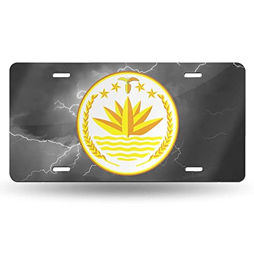AOOEDM Lightning Storm Rain Clouds Sky National Emblem of Bangladesh Cotton License Plate Aluminum Novelty License Plate Decorative Front Plate 6 X 12 Inch