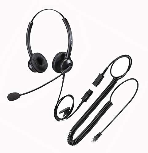 Telefon Headset mit Mikrofon für Cisco Festnetztelefonen, Stereo Büro CallCenter Kopfhörer mit RJ9 Klinke für Jabra Cisco 7841 7942 7945 7960 7961 7962 7965 8841 8945, Komfort und Licht