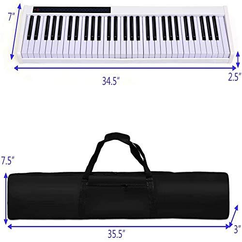 Ning Night 61-Key Bluetooth Bewegliches Elektronisches Klavier Hand Roll Piano Tastatur Für Anfänger Erwachsene (128 Rhythms, 128 Töne Und 20 Demos),Weiß