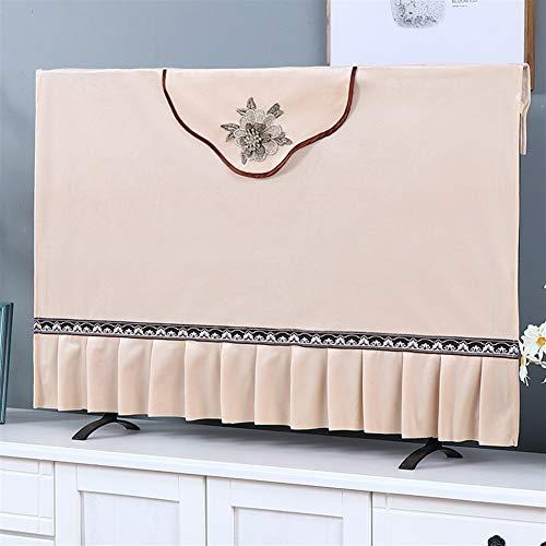47-B Cubierta de TV cubierta de tela para televisión, cubierta antipolvo para televisión, tela de cachemira, color beige, tamaño: 190,5 cm