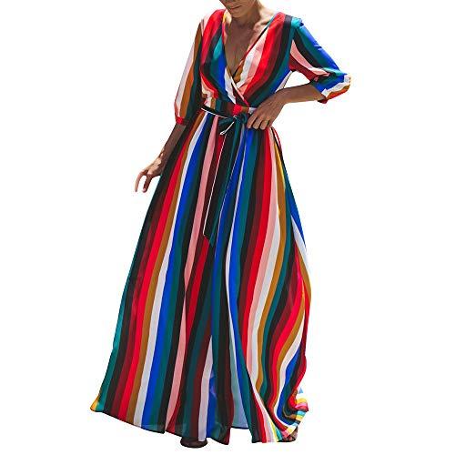 iLOOSKR Ladies Rainbow Beach Skirt V-Neck Colorful Stripe Maxi Dress(Multicolor,L)