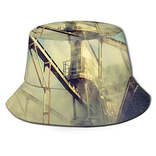 Máquina de trituración de piedra de roca Open Pit Mining Sand Dust Unisex Impresión Doble Lado-Wear Reversible Bucket Hat