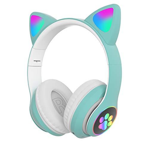 weichuang Auricular con luz de flash de gato con Bluetooth inalámbrico con micrófono puede controlar LED estéreo, bajo, casco de música, teléfono, auriculares de regalo (color: verde)