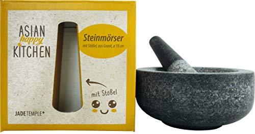 JADE TEMPLE Steinmörser mit Stößel im Set, effektives & einfaches mörsern, aus massivem Granit mit 18 cm Durchmesser & 8,5 cm Höhe