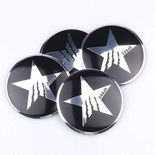 xy Tapas para Llantas de Coche 4PCS Coche Styling 56mm Pentagrama Logo Coche Pegatinas de la Rueda de automóvil Cap Cap Emblem Cover Compatible con Ford Fiat Audi BMW Nissan Honda Emblema