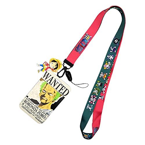 Saicowordist One Piece Anime - Llavero con funda para tarjetas, diseño de dibujos animados anime con cinta larga y funda para tarjeta de identificación, tarjeta de autobús (Zoro)
