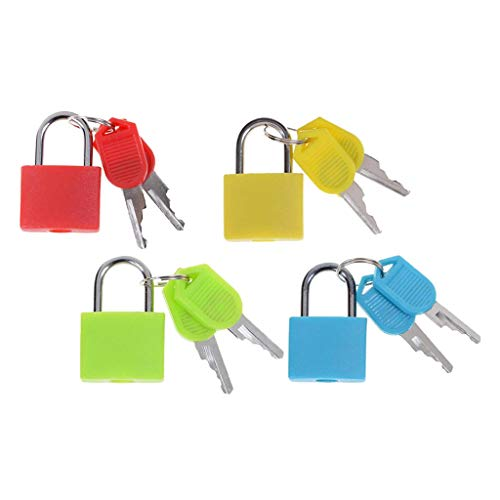 harayaa 4pcs Padlock Suitcase Luggage Keyed Lock with 2 Keys Wide Application