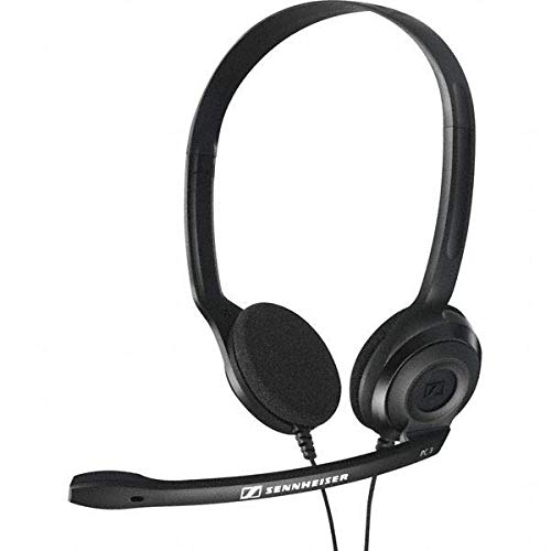 Sennheiser HEADSET PC 3 CHAT - Cuffia professionale con Microfono per Pc o Laptop, Doppio Jack (1 x Audio, 1 x Mic), Nero
