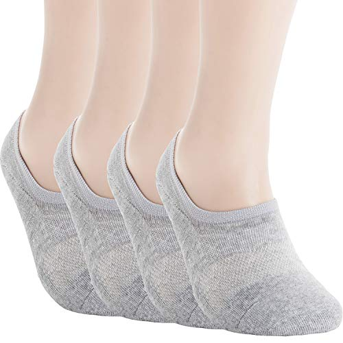 Pro Mountain No Show Socks For Women Men Cushion Athletic Footies Liner S M L XL Sneakers Loafer Running Flats US Women Shoe Size 10-12 Men 9-11 Grey 4 Pack