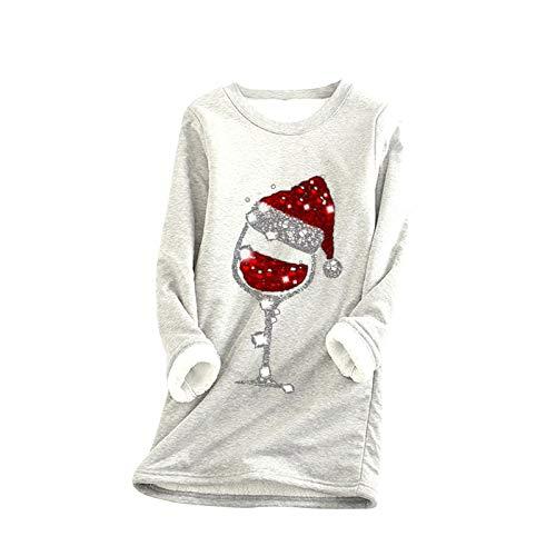 Yowablo Sweatshirt Frauen Dickes Fleece Weihnachtsdruck Samt Warmes O-Neck Unterwäsche Top (M,5Weiß)