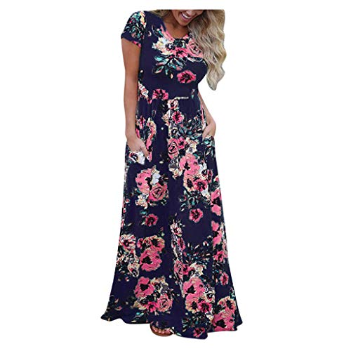 Sale!! kaifongfu Women Short Sleeve Plus Size Maxi Dress Summer Casual Floral Printed Long Maxi Dres...