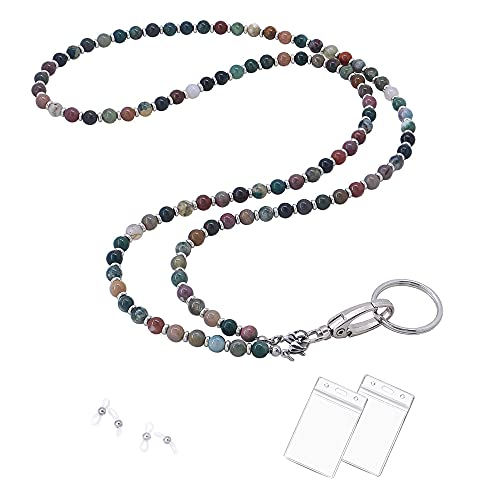 Lanyard for ID Badges Holder, Beaded Cute Lanyard for Keys Neck Lanyards for Glasses Chain Strap for Women (Indian Agate)