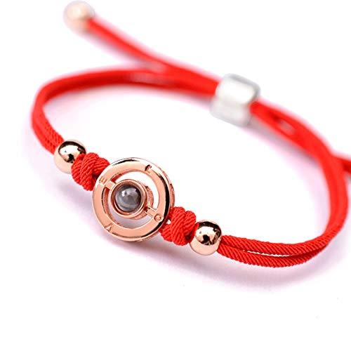 CG 100 Sprachen Say I Love Sie Sterling Silber Rose Gold Armband, Valentinstag Paar Hand Seil Damen Mit Licht Und Schatten Projekt Out 100 Sprachen,A