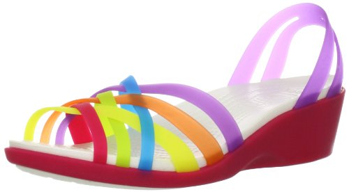 Crocs Huarache Mini Wedge, Damen Offene Sandalen mit Keilabsatz, Mehrfarbig (Multi/Geranium), 41/42 EU