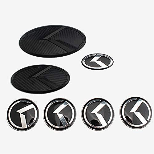 XCBW 1 Set (7 STÜCK) Kühlergrillkoffer + Lenkrad + Radmitte Kappen Aufkleber Emblem Logo, für K-ia Sorento K5 KIA VIP Kflight,Carbon Fiber Black