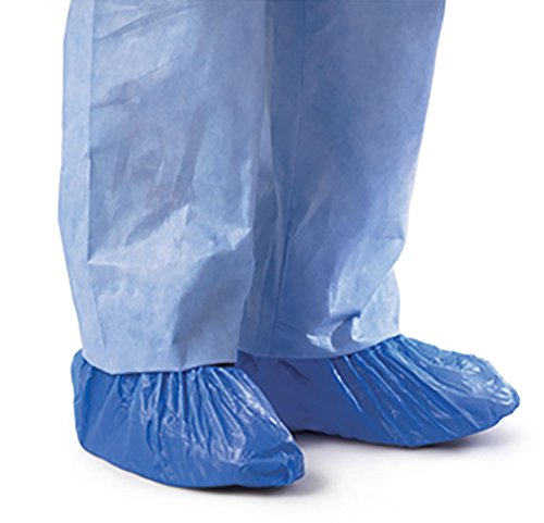 Blue CPE (.55 MM) Shoe & Boot Cover Booties, Water Proof CPE Material, Indoor & outdoor shoe or boot protection, Non Slip disposable (Size XL 100 Pack)