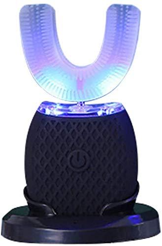LLDKA Diente de Carga USB para blanquear Kit de Cepillo de Dientes 360 ° Cepillo de Dientes eléctrico Inteligente automática de Tipo T Cepillo Dental sónico,Negro