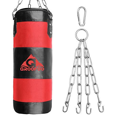 GROOFOO Boxsack Kinder Hochleistungs Oxford Boxsack für Kinder, Jugendliche und Erwachsene, UNGEFÜLLTE Tasche mit Mount Chain Heavy Duty Pouching Bag für Boxtraining MMA Muay Thai (Rosso, 100 * 33CM)