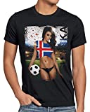 style3 EM 2020 Soccer Girl Deutschland Herren T-Shirt Fußball Trikot Germany Schwarz, Größe:XL, Land:Island