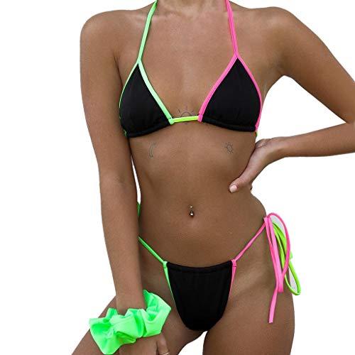SCHOLIEBEN Neckholder Bikini Damen Set Sexy Push Up Brazilian High Waist Schwarz Boho Thong Sport Cut Hochgeschlossen Bade Retro String Tanga Mollige Bademode Badeanzug