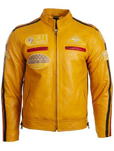 Aviatrix Chaqueta Biker De Cuero Autentico para Hombre con Cuello De Banda y Distintivos De Moto (CXUS)