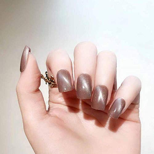 CLOAAE 24pcs Fashion Cat Eye Color Fake Nails Medium Square Rose Red Brown Finished False Nail Press On Nail For Girls Best Gift