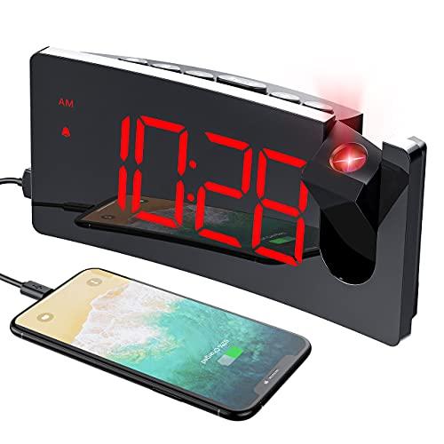 Sveglia con Proiettore,Sveglia da Comodino Digitale con 180° di Rotazione Proiettore,Usb Doppi Sveglia , 4 Livelli Luminosità e Snooze,12 24 Ore,Facile da Usare,per Camera da Letto Soggiorno