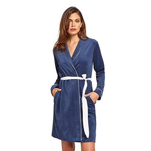 YAMAMAY® Vestaglia Blu in ciniglia - Zaffiro