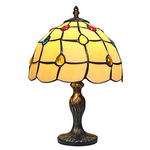 MIAOKE lámpara tiffany, Lámpara de mesa de vitrales con base delgada de hoja de metal antiguo para espacios pequeños de sala de estar, dormitorio, luz de escritorio de banquero