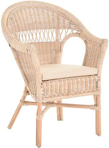Stapelbarer Rattansessel mit Sitzpolster Korbsessel aus echtem Rattan im Landhaus Stil (Vintage Weiss)