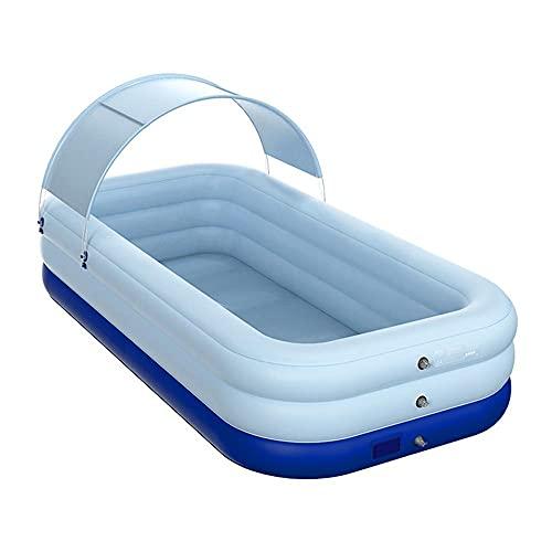Opblaasbaar zwembad, familie zwemcentrum met zonneschaduw, rechthoekige loungezwembaden, draadloze opblaasbare technologie, voor achtertuin, kinderen, volwassenen