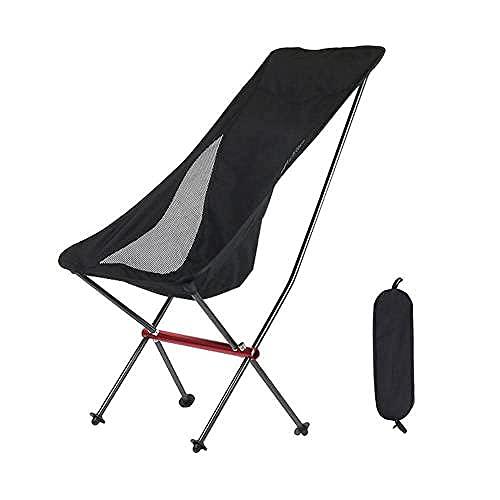 Silla Mochila Plegable y Liviana Silla Plegable Ultrafino-portátil Silla de Playa para Acampar-Negra Silla para Acampar al Aire Libre y Picnic