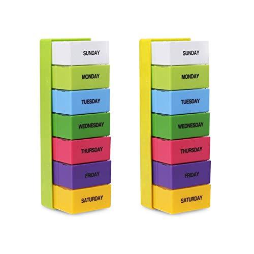 Gwotfy Pill Organizer, 2Pezzi Pill Box 7 Day Weekly AM/PM, Pill Box Organizzatore per Pillole Vitamin Olio di Pesce