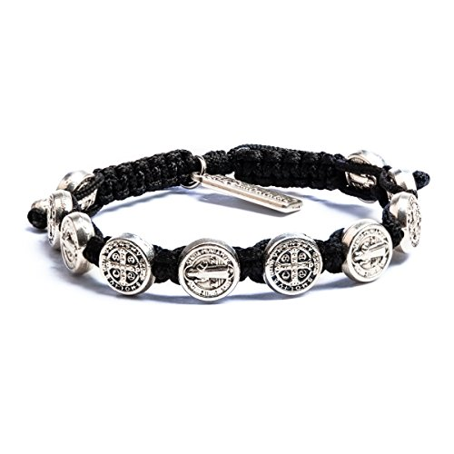 My Saint My Hero Benedictine Blessing Bracelet, Handwoven - Black Cording/Silver Medals with Silver 'Blessed' Tag