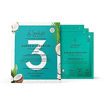 Seoulista Beauty Super Hydration Instant Facial Multipack – Award Winning - Beauty Face Masks with Hyaluronic Acid, Coconut – Natural Fibre BioCellulose Sheet Masks— Korean Beauty — 3-Pack by Seoulista Beauty